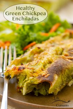 Healthy Green Chickpea Enchiladas are filled with chickpeas, corn, and tomatoes, and baked in a creamy spinach sauce until the sauce thickens, and the meal is delicious!