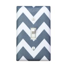 Chevron Light Switch Plate Cover / Steel Gray and White / Charcoal Grey Zig Zags by Robert Kaufman / Slightly Smitten Kitten