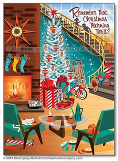 Christmas Card Greetings Business Sayings : Mid Century Christmas Morning Christmas Cards show a retro living room filled with gifts an aluminum tree. Do you remember that Christmas morning thrill? Retro Christmas Decorations, Vintage Christmas Images, Modern Christmas, Christmas Pictures, Christmas Art, White Christmas, 1950s Christmas, Antique Christmas, Company Christmas Cards