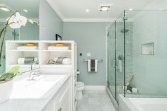 Contemporary Full Bathroom with Anatolia Bianco Venatino Marble Tile -(Polished) Random Strip Mosaic, Simple Granite, Flush