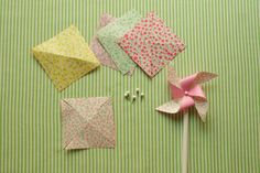 DIY pinwheels! Very easy too. Pencils, map pins, double sided oragami or scrapbook paper!
