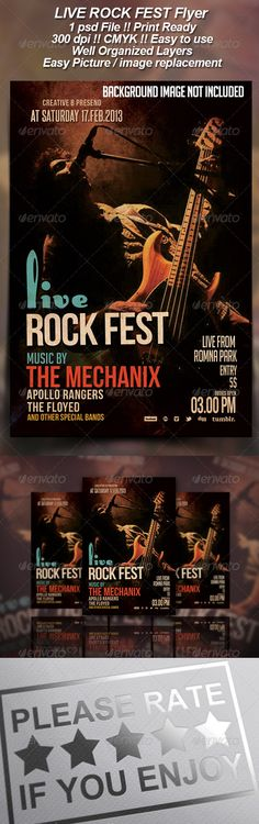 Live Rock Fest Flyer  #GraphicRiver         Live rock Fest flyer template or poster template designed to promote any kind of event, concert, festival, party or weekly event in a cycling club and other kind of special evenings.   1 psd File Print Ready 300 dpi CMYK Well Organized Layers Easy Picture/image replacement Easy to use   Font used :   BigNoodleTitling :  .dafont /search.php?q=BigNoodleTitling Bebas Neue : img.dafont /dl/?f=bebas_neue RabbitEars :  .dafont /rabbit-ears.font