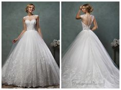Sheer Neckline Lace Appliques A-line Wedding Dress