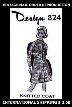 824 Vintage 60s Mail Order Design Womens Knitted Knit COAT Knitting Pattern CUTE #PATTERNPEDDLER824