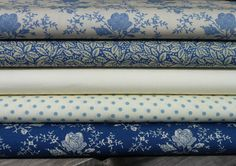 5 Fat Quarter Bundle 100% Cotton Vintage Shabby Chic Rose Polka Dot Floral Blues in Crafts, Sewing & Fabric, Fabric | eBay