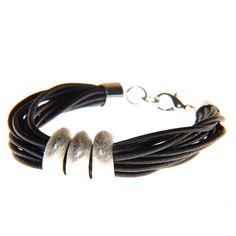Multistrand Bracelet with Metal Hoop Beads - Silver Effect