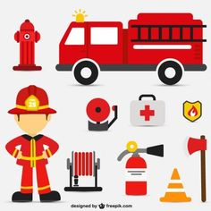 Vecteurs sur le thème des pompiers