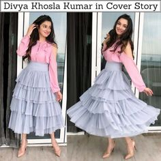 Evergreen Divya Khosla Kumar spotted at Bulbul promotions wearing Cover Story Party Wear Indian Dresses, Designer Party Wear Dresses, Indian Gowns Dresses, Kurti Designs Party Wear, Dress Indian Style, Indian Designer Outfits, Lehenga Designs, Pakistani Dresses, Frock Fashion