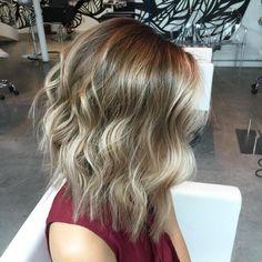 long layered brown blonde balayage bob
