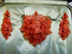 Victorian Carved Coral Cameo Brooch and Earrings Demi-parure