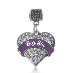 Plum Big Sis Pave Heart Memory Charm