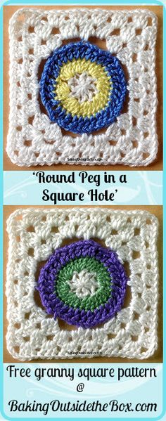 Baking Outside the Box: Free crochet pattern of a round medallion floating in a granny square frame.