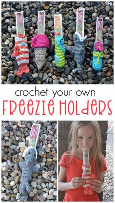 Crochet Freezie Holders- DIY ice pop holders for kids to use in the summer time! Crochet pattern to make your own. Crochet Ideas, Crochet Patterns, Crochet Hats, Loom Weaving, Crotchet, Future Baby, Summer Time, Diy Gifts, Make Your Own