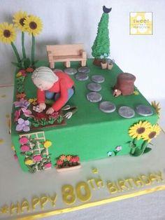 Garden cake for a lady's birthday. Garden cake for a lady's birthday. Garden cake for a lady's birthday. Garden cake for a lady's birthday. 80th Birthday Cake For Grandma, Garden Birthday Cake, Grandma Cake, 70th Birthday Cake, Dad Cake, 90th Birthday Parties, Birthday Cakes For Women, Birthday Cake Cookies, Allotment Cake