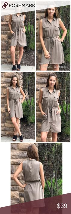 Olive Green Pocket Shirt Dress Trendy Olive green dress, features a button closure, draw string waist that is adjustable. Two front side pockets available. Light and flows fabric. Sizes S,M,L.                                Small  Bust 42 Length 38.5  Medium  Bust 44 Length 39  Large  Bust 46 Length 39.5 Dresses