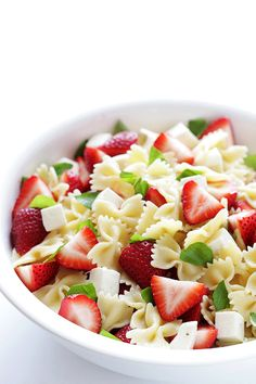 This Strawberry Caprese Pasta Salad is made simple with just five ingredients, and tossed in a delicious balsamic reduction. Caprese Pasta Salad, Pasta Salad Recipes, Gourmet Recipes, Cooking Recipes, Summer Salads, How To Cook Pasta, Soup And Salad, I Love Food, Food And Drink
