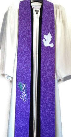 Clergy Stole  Purple Hosanna Clergy Stole w/ Dove by PulpitStoles