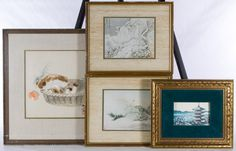 Lot 354: Asian Watercolor and Print Assortment; Four contemporary items including a landscape color print, two reproduction snow landscape prints and a watercolor on paper depicting a basket of mushrooms