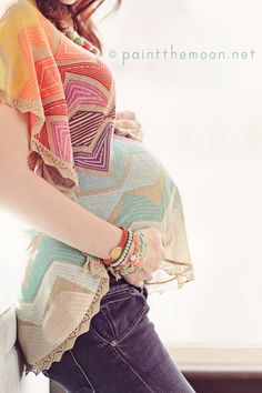 "wearing a regular ""non"" maternity shirt from Anthropologie.  Fun colors and jewelery to go with..."