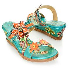 "Corkys Elite ""Hope"" Leather Hand-Painted Embellished Wedge Sandals"