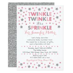 Baby sprinkle invitation cactus fiesta sprinkle personalized baby pink silver twinkle star baby sprinkle invitation filmwisefo