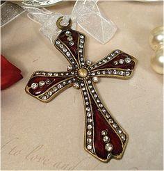 Italian Burgundy Cross Ornament Favors - Religious Favors