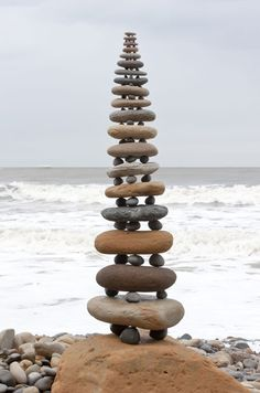 Stacked beach boulders and pebbles at Robin Hood's Bay, North Yorkshire in March 2009 by Richard Shilling