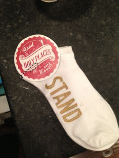 Stand socks for all my young women for back to school.  Reminding them to stand in holy places wherever they stand.  Freezer paper stencil and gold paint.
