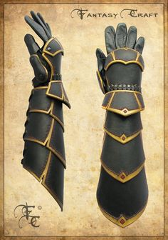 Leather bracers with hand protection by ~I-TAVARON-I