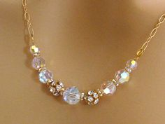 Rhinestone Bridal Necklace Gold Bridal Jewelry Swarovski AB