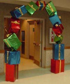 Stack of presents in front of door class