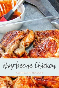 Baking the chicken in wine before grilling makes it extra tender in this Barbecue Chicken recipe. Whole30 Dinner Recipes, Dinner Party Recipes, Quick Dinner Recipes, Summer Recipes, Best Chicken Recipes, Bacon Recipes, Cooking Recipes, Recipe Chicken, Turkey Recipes