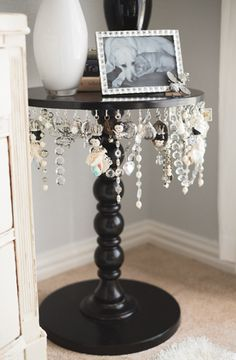 Small Spaces DIY Jewelry Table   My cat would LOVE this!!! And I wouldn't have any jewelry left!!