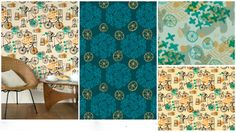 Bicycles & Windows Surface pattern collection as featured on the Make It In Design blog - patterns by Adriana Hernandez (Adriprints)
