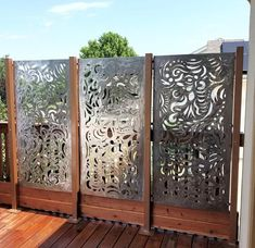 This Swirly Garden Screen stands 30 x 60 (sizes can vary) This gorgeous piece of metal art has been created for your backyard oasis. This design is all hand cut using a hand-held plasma cutter.  They are designed to show their rusty patina finish over time. One of a kind, and no two