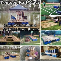 The Homestead Survival | Pontoon Raft Made From Wood Pallets And 55 Gallon Plastic Drums | DIY Project & Homesteading -  http://thehomesteadsurvival.com