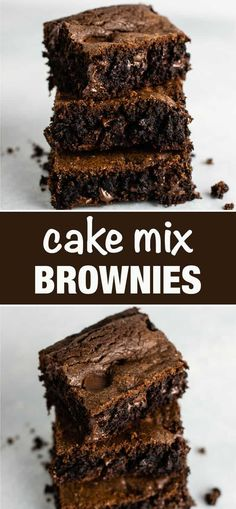How to make brownies from cake mix – don't have brownie mix on hand? These are so good and so easy to make! # cake mix desserts The Best Cake Mix Brownies Recipe - Build Your Bite Brownie Mix Recipes, Chocolate Cake Mix Recipes, Cake Mix Desserts, Dessert Recipes, Chocolate Cake Mix Cookies, Baking Chocolate, Chocolate Brownies, Cake Like Brownies, How To Make Brownies