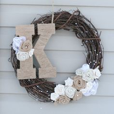 Burlap Wreath with Pearls Lace and Jute Wrapped by KAntikoy, $52.00