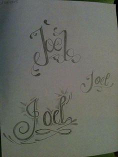 Dibujo hecho a lápiz - Tatuaje con el nombre de Joel
