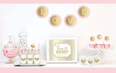 """Gold & Glitter Bridal Shower Decor Kit. Celebrate your Bridal Shower with a little glitz and glam with our Gold & Glitter Bridal Shower Decor Kit. Each Kit includes Metallic Foil and Glittery Gold items such as banners, stickers and cupcake toppers for dressing up your dessert and candy buffet table. Kit Includes: 1 Metallic Foil Scallop Banner spelling out LOVE as shown1 Metallic Gold Table Sign printed with """"Love is Sweet, Please Take a Treat""""25 Striped Straws24 Cupcake..."""