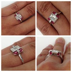 Who wouldn't love this incredible vintage ring? One of the most unique pieces we have seen in a long time, this ring features a 1.10ct Emerald cut diamond with ruby accent stones set in platinum, circa 1920. Exclusively at Single Stone. (213) 892-0772 www.singlestone.com @singlestonemissionstreet #deco #artdeco #ruby #diamonds #emerald #platinum #vintage #dtla #losangeles #love #grand #gatsby #hello #beautiful #gorgeous #rings #1920 #architecture #unique #wow #want #mine #designer