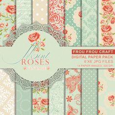 Mint Vintage Rose Digital Paper Pack Instant Download Red Pink Mint Blue Shabby Rose Damask Flower Floral Retro Pattern Gift Wrap 6x6 inches