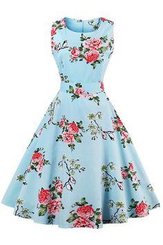 Wicky LS Women's Vintage Retro Sleeveless Tea Dress Multicolors (M, Blue Flower) Short Beach Dresses, Sexy Dresses, Cute Dresses, Fashion Dresses, Rockabilly Dresses, Vintage Dress Patterns, Vintage 1950s Dresses, Sewing Patterns, Robe Swing