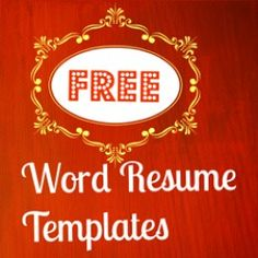 Resumes/Jobs Free Microsoft Word Resume Templates