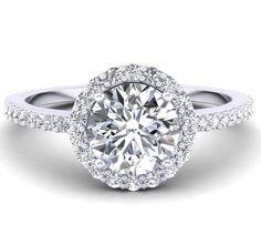 Classic Halo Engagement Ring With Round Brilliant Center Diamond