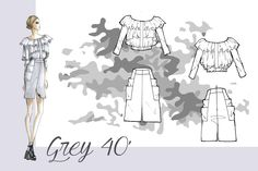 outfits inspired by the 40s, made for the Secoli fashion show 2014 - Mariana Cino  #fashionillustration #grey #40' #cupro #military #ruched #style #istitutosecoli #fashionshow #marianacino