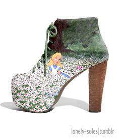 I could never wear these, but they are sooooooo cute!!! Alice in her own wonderland world boots