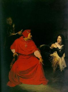 The cardinal of Rochester interrogates Joan in her cell, a 19th century painting by Paul Delaroche.