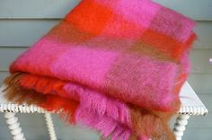 Plaid mohair throw, vintage