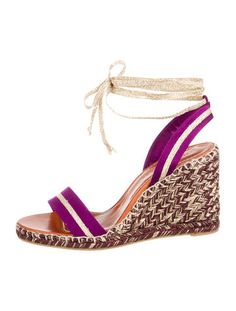 Purple satin Marc Jacobs wedge sandals with tonal stitching, gold-tone metallic grosgrain trim, covered heels and lace-up closures at ankles. Includes box and dust bag.
